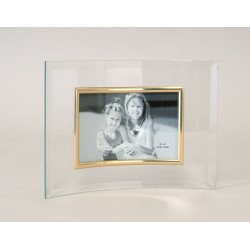 Picture frame glass curved gold ring, horizontal photo, panoramic