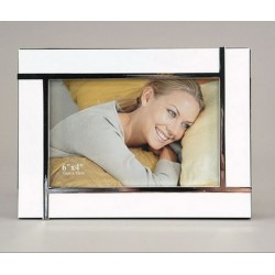 lacquered photo frame, white & alu