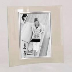 Cadre photo en verre galbé, jonc argent photo verticale, portrait