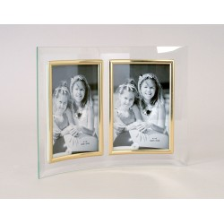 double photo frame in curved glass