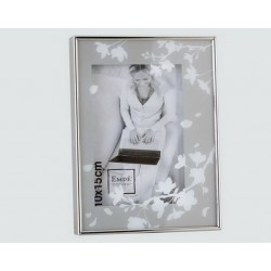 Silver picture frame with flower glass
