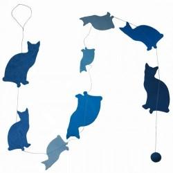 Guirlande chats bleu
