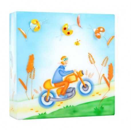 Boîte à lumière pour enfant avec décor : Garçon à moto