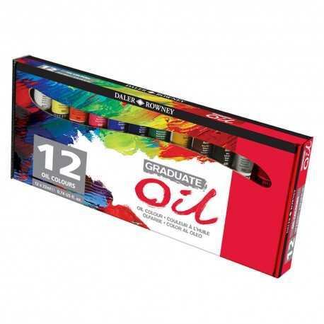 Set de 12 tubes de peinture couleurs fines à l'huile Graduate