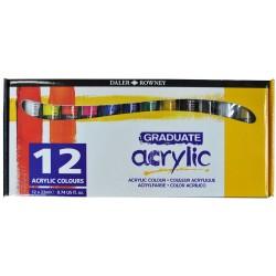 Set de 12 tubes de peintures acrylique Graduate