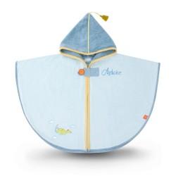 Cape de bain à broder pour enfant, dragon bleu
