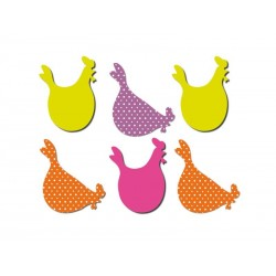 Set of 6 hens shaped magnets