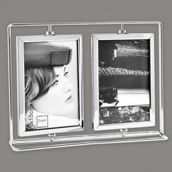 Cadre photo en métal 2 vues 10x15 pivotantes