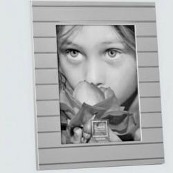 Cadre photo couleur alu avec rayure métal argenté