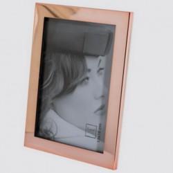 Cadre photo double couleur cuivre dos en cuir beige