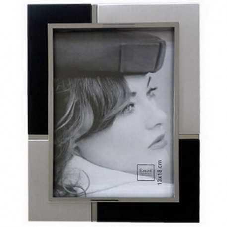 Cadre photo bicolore argent & noir