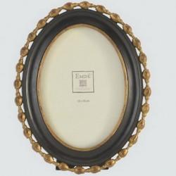 Cadre ovale orné noire et or