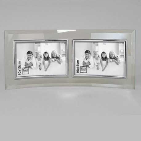 Cadre photo double en verre galbé