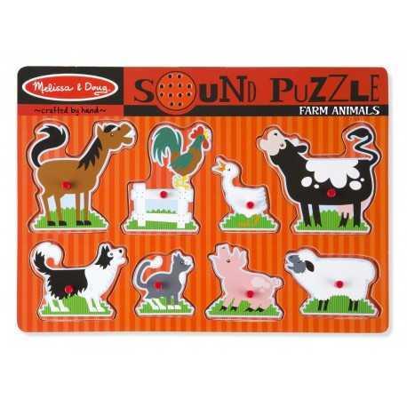 puzzle sonore en bois pour enfant, les animaux de la ferme