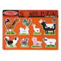 Puzzle sonore en bois pour enfant, les animaux, le zoo, pompier, maison