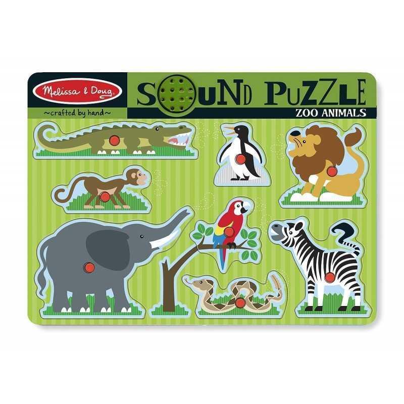 puzzle sonore en bois pour enfant les animaux de la ferme du zoo les animaux domestiques le. Black Bedroom Furniture Sets. Home Design Ideas