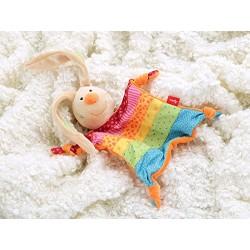 Doudou, peluche lapin arc en ciel pour enfant