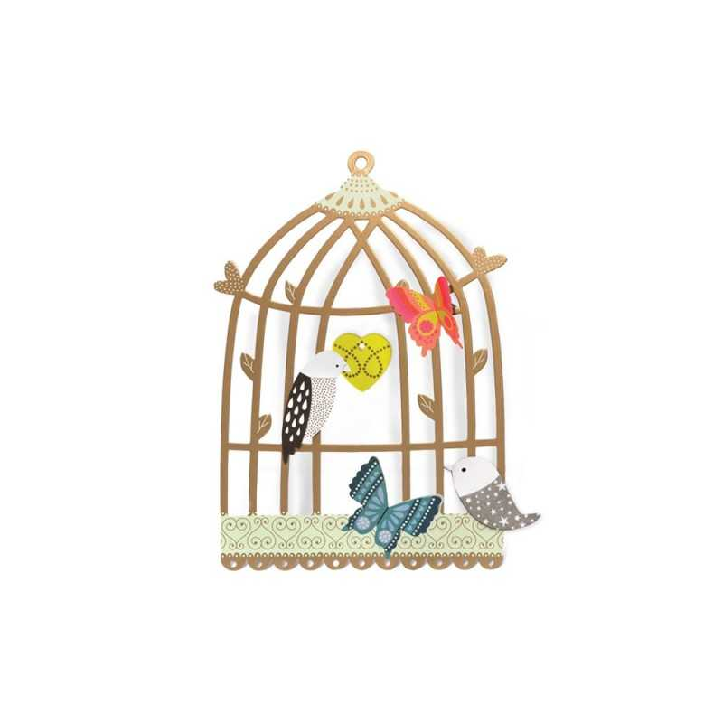 3 cages oiseaux d corer coffret cr atif. Black Bedroom Furniture Sets. Home Design Ideas