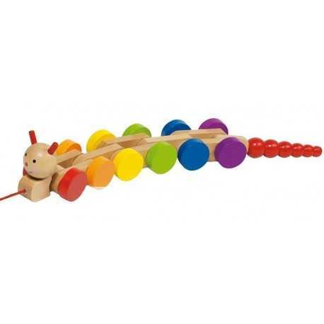 Jouet chenille en bois à tirer, jeux pour enfant