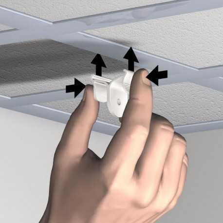 Pack 10 pinces pour suspension à un faux plafond avec dalles
