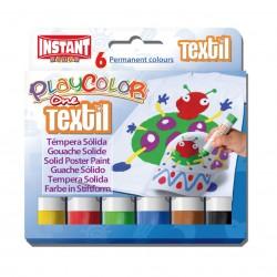 Boîte de 6 gouaches de couleurs pour textiles, tissus