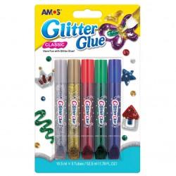 5 tubes de colles de couleurs pailletées