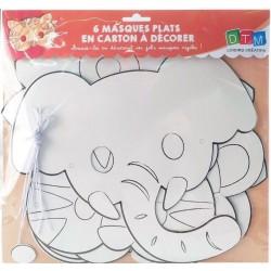 6 masques pour enfant à colorier