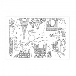Tablecloth coloring for children, Monuments of Paris