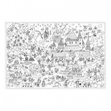 Poster papier à colorier pour enfants. Poster Chevalier