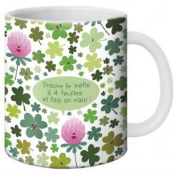 Mug, Trouve le trèfle à 4 feuilles et fais un voeux