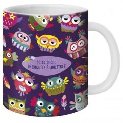 """Mug, """"Chouette à lunettes"""" by Lali"""