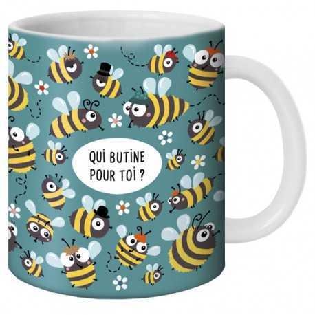 """Mug, """"Qui butine pour toi ?"""" by Lali"""