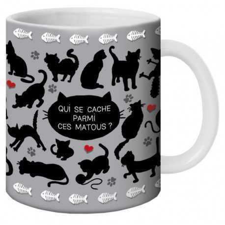 """Mug, """"Qui se cache parmi ces matous ?"""" by Lali"""