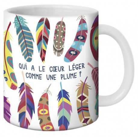 """Mug, """"Qui a le coeur léger comme une plume ?"""" by Lali"""
