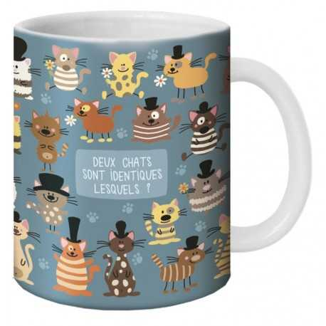 """Mug, """"Deux chats sont identiques lesqueles ?"""" by Lali"""