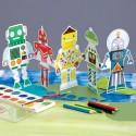 Guirlande de robots à colorier