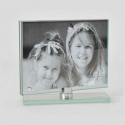 Horizontal picture frame with glass top