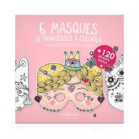 6 masques en papier à colorier, le modèle Princesse