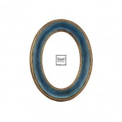 Cadre photo ovale turquoise, doré pour photo format 10x15 cm