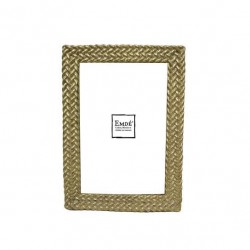 Gold photo frame with weave 10x15 cm