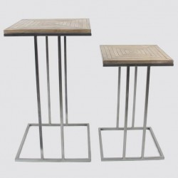 2 Sellettes design carré bambou métal foncé