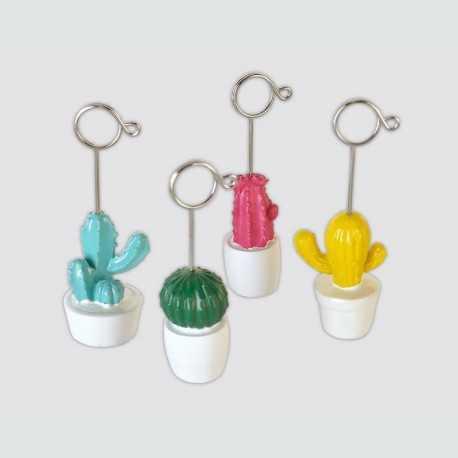 Lot de 8 clips cactus colorés