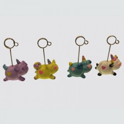 lot de 8 clips cochon, chat, chien porte photo, porte menu