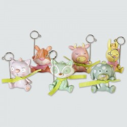Set de 6 clips animaux couleurs pastels