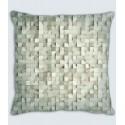 Coussin motif cubes ivoire lin