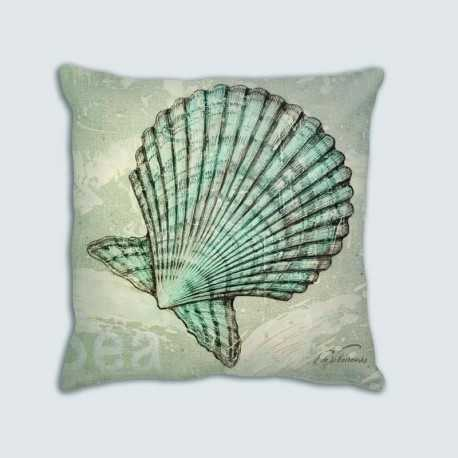 Coussin motif : mer, coquille St Jacques