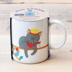 Mug chat en céramique avec plante à faire pousser