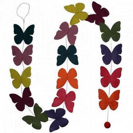 Guirlande de papillons en Lokta