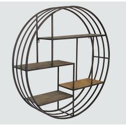 Etagère ronde métal et bois