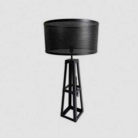 Lampe industrielle en métal noir avec abat-jour